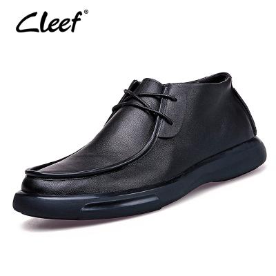 看樂cleef高幫皮鞋男士歐美寬楦舒適厚底休閑鞋真皮休閑皮鞋