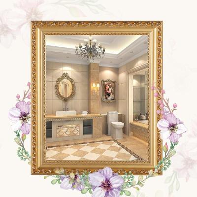 歐式實木粘貼浴室鏡子化妝梳妝洗手間廁所衛生間貼墻帶框免打孔弧威