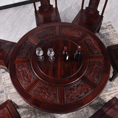 枳记家 红木黑酸枝木实木圆桌阔叶黄檀中式雕花餐桌椅组合印尼1.58米餐台