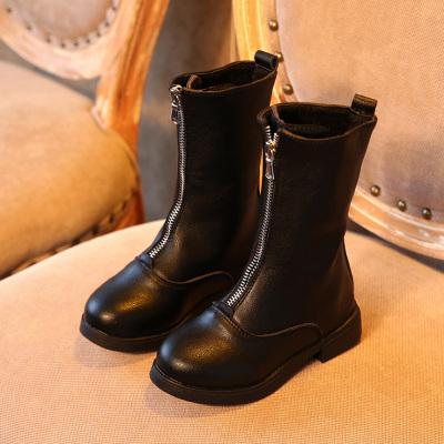 邁凱恩品牌2019秋冬新款韓版女童長筒靴子兒童高筒靴公主馬丁鞋二棉保暖皮靴