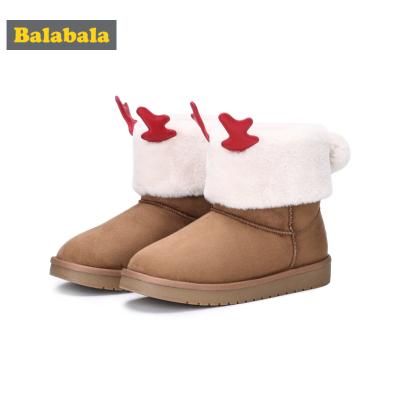 巴拉巴拉兒童雪地靴女童中筒靴冬季加絨鞋子棉靴大童鞋潮