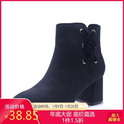 达芙妮旗下杜拉拉品牌女靴 冬时装高跟侧拉链百搭尖头性感女短靴