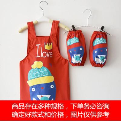 儿童罩衣新款韩版系带阿喜防水围裙免洗带套袖宝宝罩衣美术画画衣