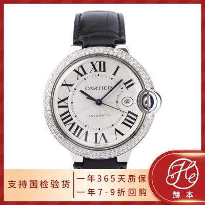 【正品二手95新】卡地亚/Cartier 手表男 蓝气球系列 精钢后镶钻42表盘 自动机械腕表 皮带款 W69016Z4