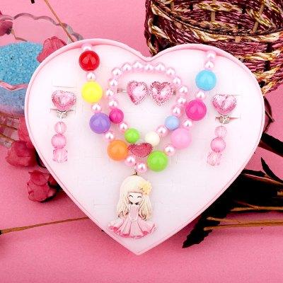 儿童首饰套装公主女孩项链手链戒指女童饰头饰耳夹饰品爱心礼盒