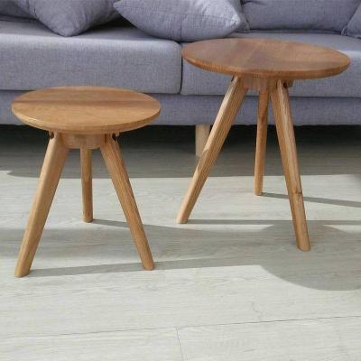 HOTBEE北欧现代简约小户型日式圆形组合套几套桌白橡木小咖啡桌实木茶几