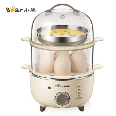 小熊(Bear)煮蛋器 家用蒸蛋器早餐机旋钮可定时煮蛋机单双层自动断电迷你小型 304不锈钢蒸碗 ZDQ-B14R1