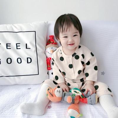 ins春秋款韓版嬰幼兒童簡約哈衣波點口袋連體衣男女寶寶外出服