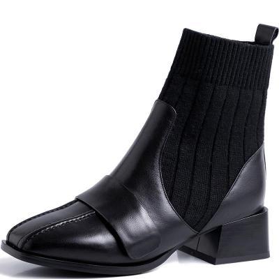 2020秋季新款粗跟皮襪靴女中跟彈力短靴子瘦瘦靴百搭威珺