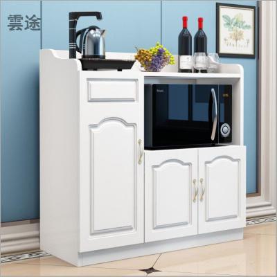 微波爐柜簡約現代烤箱柜餐廳儲物柜茶水柜客廳收納碗廚柜歐式定制 黑胡桃配暖白門 3門