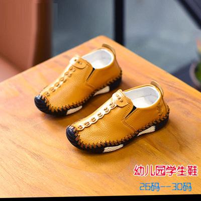 2019春季童鞋兒童皮鞋軟底2-5歲男童豆豆鞋春秋單鞋3歲一腳蹬板鞋 莎丞