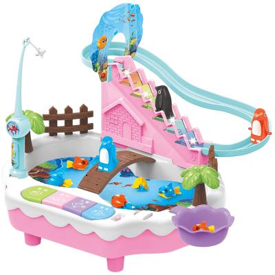 優赫ZeusHera 釣魚玩具套裝男孩女孩寶寶企鵝上樓梯軌道旋轉戲水小貓釣魚磁性益智玩具兒童電動玩具禮物粉色