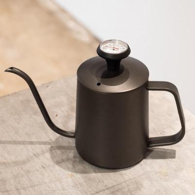 掛耳長嘴壺細口壺套裝帶溫度計防燙把手600ml時光舊巷咖啡壺 580ml炫酷黑壺(溫度計蓋子)