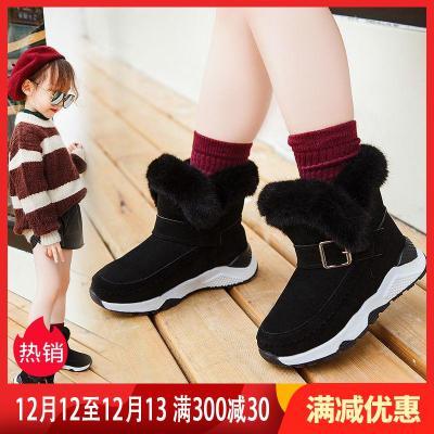 童鞋女童雪地靴2019新款冬季中大童加绒加棉靴防水中筒靴莎丞