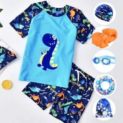 兒童泳衣男童泳褲分體套裝寶寶中大童男孩泳裝小童卡通恐龍游泳衣 臻依緣