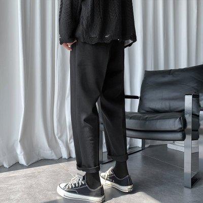 男装秋冬季坠感休闲裤子宽松黑色西裤色百搭直筒长裤潮