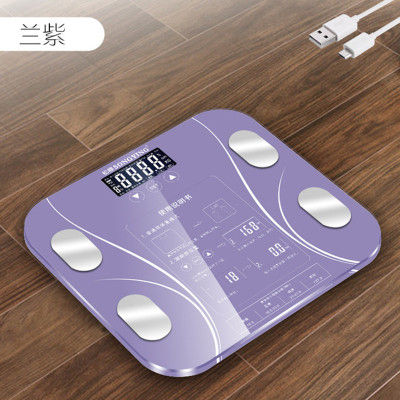 松櫻2020新品USB可充電體脂秤sy02稱體重秤家用測電子秤脂肪秤精準人體稱(三年包換新)-紫色