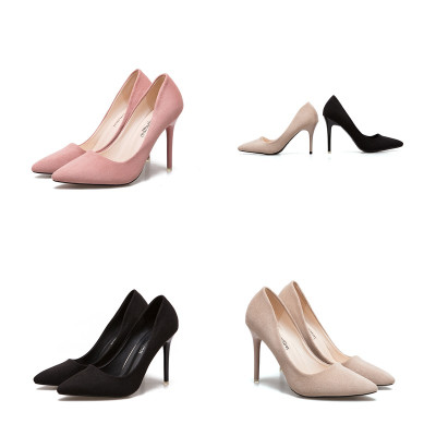 莎丞 粉色高跟鞋新款超高跟(>8厘米) 细跟尖头女单鞋浅口百搭职业ol工作鞋绒面舒适女鞋