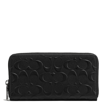 【直營】蔻馳(COACH) 經典壓紋牛皮歐美時尚拉鏈長款 錢包 錢夾 商務男士手拿包男女通用手拿包