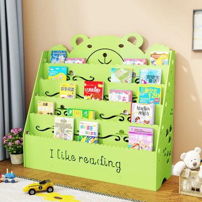 兒童書架簡易卡通寶寶書架落地收納書柜書報架幼兒園繪本架