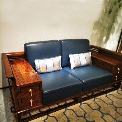 邁菲詩新中式沙發現代中式烏金木全實木輕奢套組合家具禪意黑檀木