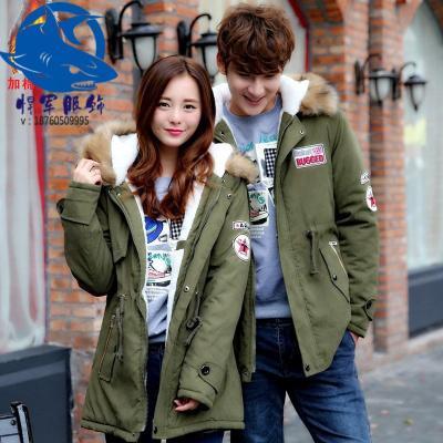 冬季韩版情侣加绒加厚棉衣连帽男女中长款羊羔毛保暖大衣潮流外套
