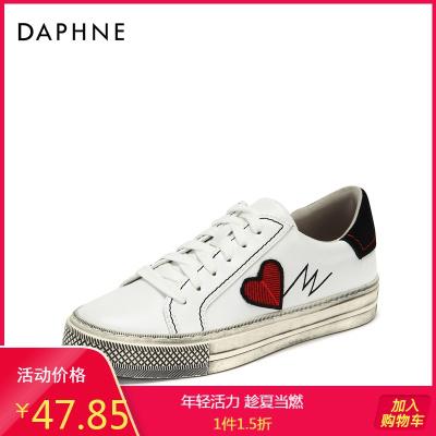 Daphne/達芙妮復古刺繡小臟鞋時尚印花簡約街頭板鞋女1018404058