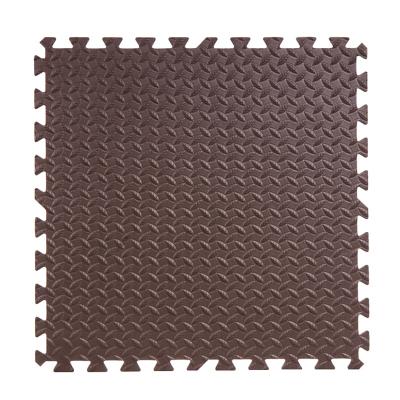 明德泡沫地垫拼图爬行垫儿童卧室树叶纹拼接防滑垫大号60*60加厚(咖啡色1片)1.2cm