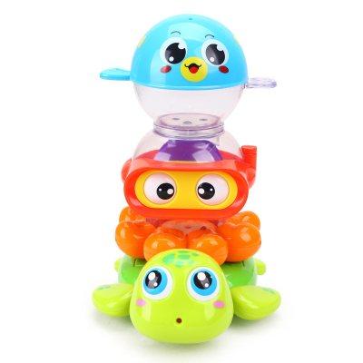 汇乐玩具(HUILE TOYS)水陆小纵队 569 戏水套装宝宝洗澡喷水乌龟婴儿浴室玩具