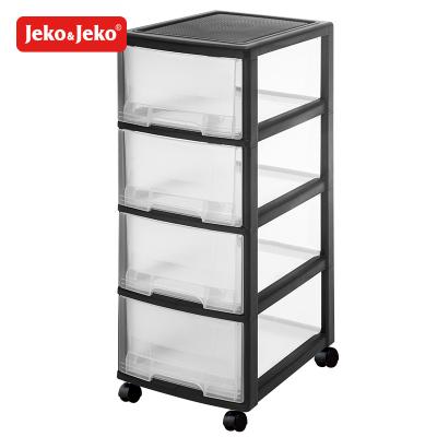JEKO&JEKO 可移動深四層柜透明塑料兒童衣柜寶寶收納盒儲物抽屜式收納柜子整理收納箱帶滑輪 SWB-518