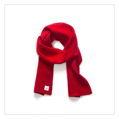 兒童圍巾純色卡通圍脖男女秋冬季寶寶紅色韓版寶寶笑臉針織圍巾諾妮夢
