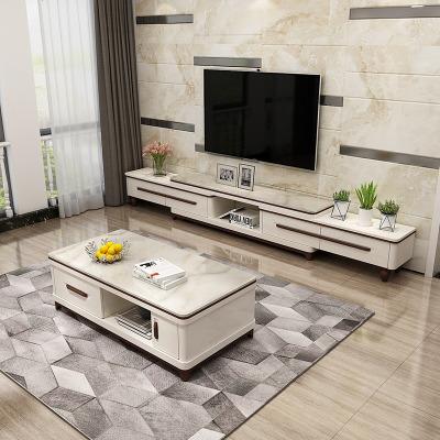 枳記家 現代簡約大理石電視柜茶幾組合套裝 可伸縮客廳影視柜北歐小戶型
