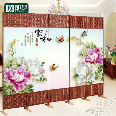 郎郡折疊屏風隔斷墻臥室客廳家用裝飾可移動實木推拉防水雙面布藝廳