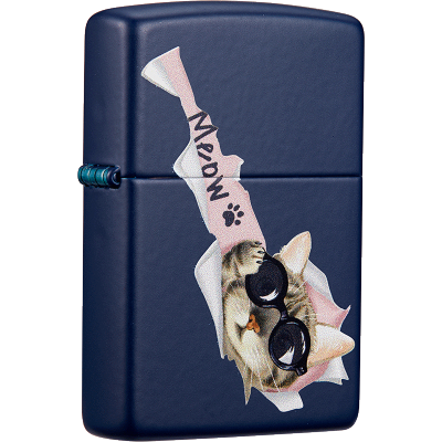 Zippo芝寶打火機美國進口防風煤油zippo打火機雙色寵物貓咪239-C-000009好奇貓-海藍啞漆