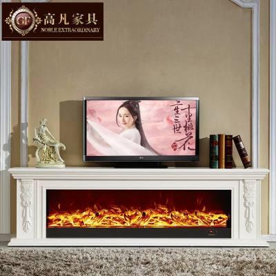 檀星星歐式壁爐電視柜 客廳白色實木美式壁爐架 仿真火落地壁爐裝飾柜
