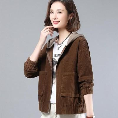 追記 燈芯絨短外套女韓版寬松2020年新款時尚百搭女士夾克潮