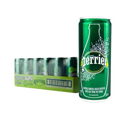 【聚会派对人气款】巴黎水(Perrier)天然气泡矿泉水(原味)330ml*24罐/箱 法国进口