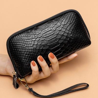 歌洛茲德大容量鱷魚紋手包2019新款手拿包女士錢包頭層牛皮長款拉鏈手機包女包手抓包手腕帶