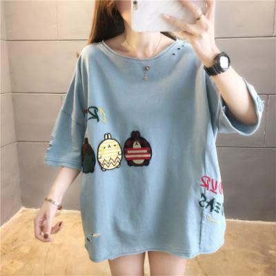 企妍T恤女夏韓版棉質寬松貼布刺繡短袖中長T恤大碼女裝上衣服