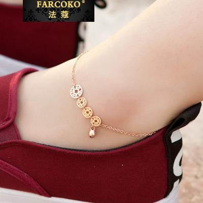 法蔻輕奢品牌韓國鍍18K玫瑰金鈴鐺腳鏈女日韓版簡約個性復古配飾品送女友
