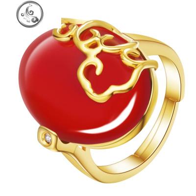 红玛瑙戒指女 天然红宝石镀18K金简约复古食指活口开口指环饰品   JiMi