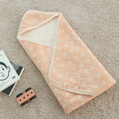 Faroro日本新生儿抱被冬季婴儿包被羊羔绒毯加绒款被子襁褓巾宝宝用品
