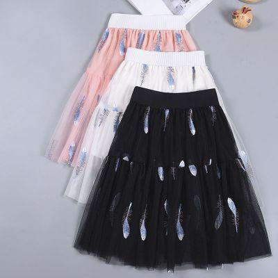 童裝女童半身裙春夏兒童網紗裙長裙女中大童蓬蓬裙羽毛百褶裙短裙 娜蜜雨(NAMIYU)