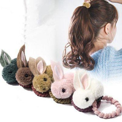 珍妮羊兒童發繩可愛毛球兔子發圈女童卡通毛絨扎頭發頭繩皮筋頭飾品