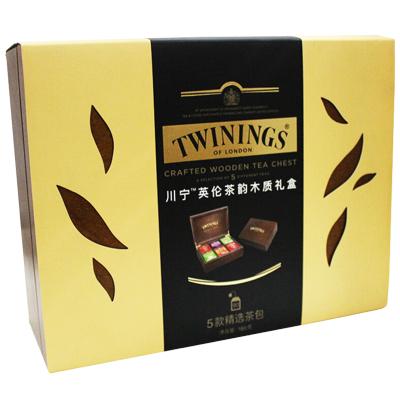 【礼盒】英国川宁Twinings 波兰进口6格木盒 英伦茶韵木质红茶礼盒 红茶绿茶5种口味90袋茶叶套装