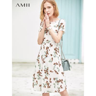 Amii极简复古气质雪纺连衣裙女2019夏新款一字领收腰显瘦碎花裙子