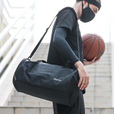 笛子 圓筒健身包旅行包休閑運動鼓包旅行包斜挎包男訓練包大容量挎包斜跨包男女通用圓筒包手提包桶包手提包3066 黑色