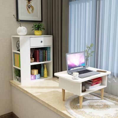 飄窗柜置物架窗臺榻榻米小桌子組合臥室陽臺小書桌書柜矮柜可定制 單獨桌子(暖白+淺胡桃)