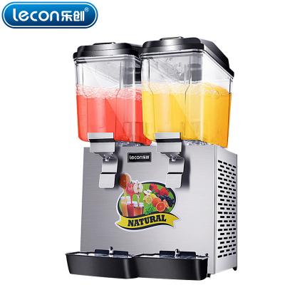 lecon/乐创饮料机商用果汁机冷热双温喷淋搅拌双缸三缸全自动果汁机 二个出水口(双缸单)