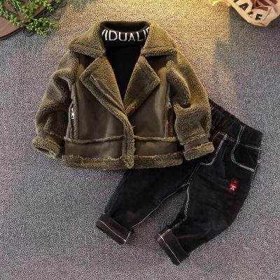 寶寶麂皮絨加厚外套2018韓版3童裝4男童加絨皮衣5兒童冬裝衣服7歲